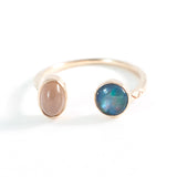 Blue Opal + Moonstone Double Ring