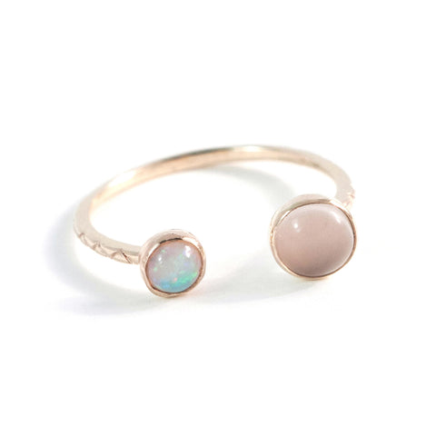 Opal + Moonstone Double Ring