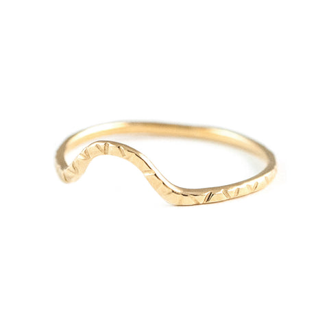 Wave Ring in Golden Brass