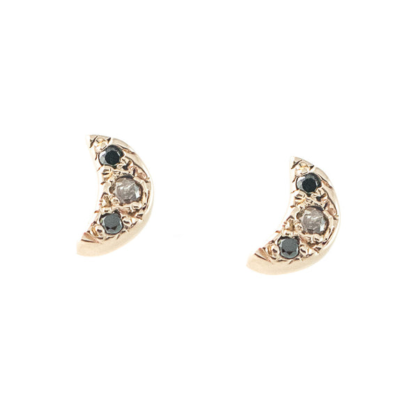 Crescent Mixed Diamond Earrings