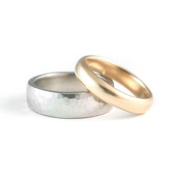 Classic Satin + Hammered Wedding Rings