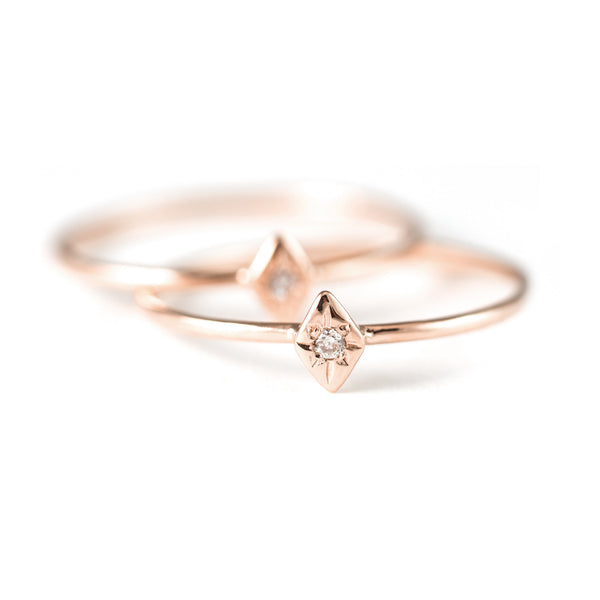 One Star Diamond Ring in 14K Rose Gold - Size 6.25