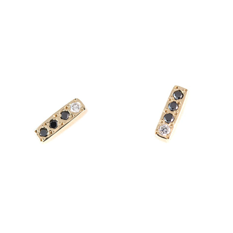Paved Diamond Bar Earrings