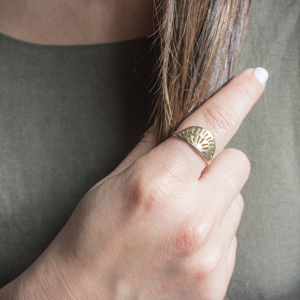 Loma Ring in Golden Brass