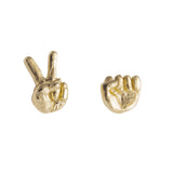 Rock and Scissors Earrings in 14K Gold Plate