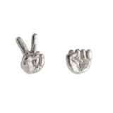 Rock and Scissors Earrings in Sterling Silver