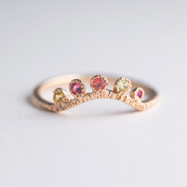 Arco Sapphire + Ruby Ring in 14K Peach Gold - Size 5.10