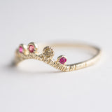 Arco Sapphire + Ruby Ring in 14K Yellow Gold - Size 5.25