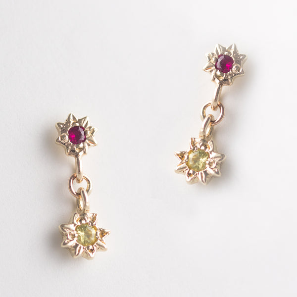 Starry Swing Ruby + Sapphire Earrings