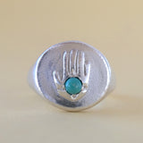 Hand Power Ring in Sterling Silver and Turquoise