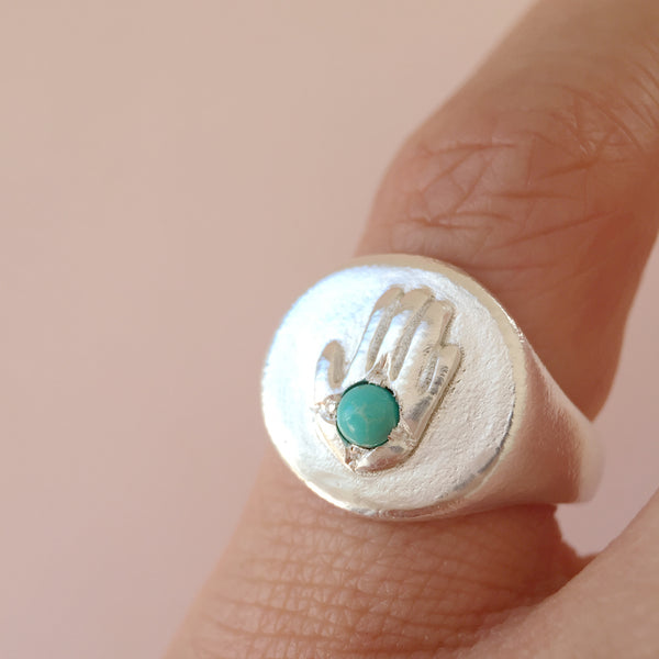 Turquoise Hand Power Ring