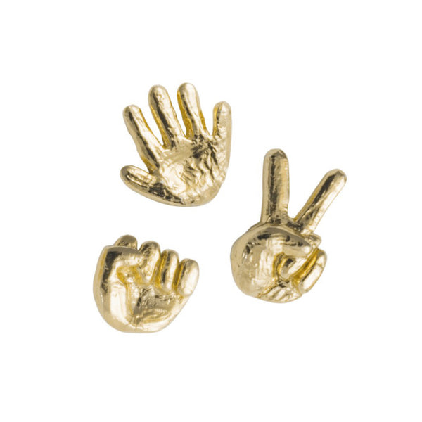Rock Paper Scissors Earring Trio in 14K Gold Plate