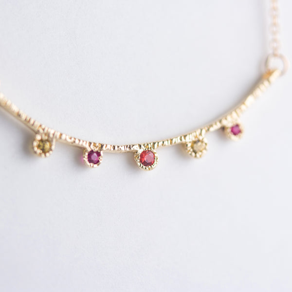 Arco Multi-gemstone Necklace in 14K Yellow Gold