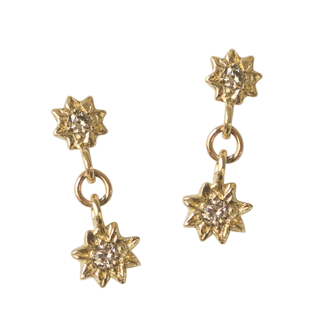 earrings gold ctw in stud halo diamond rose champagne