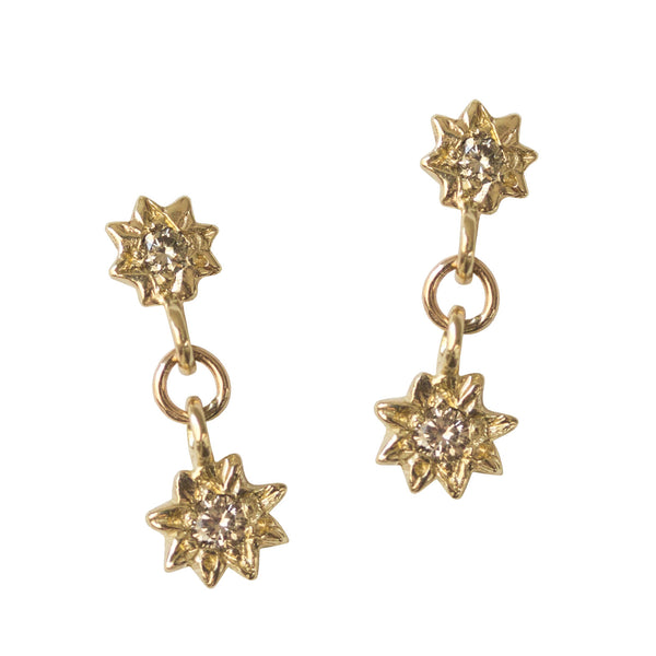 Starry Swing Champagne Diamond Earrings