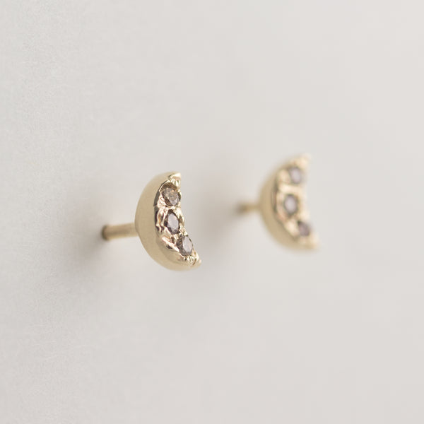 Crescent Champagne Diamond Earrings