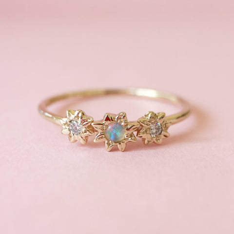 Mini Starry Opal + Diamond Ring