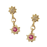 Starry Swing Ruby + Champagne Diamond Earrings