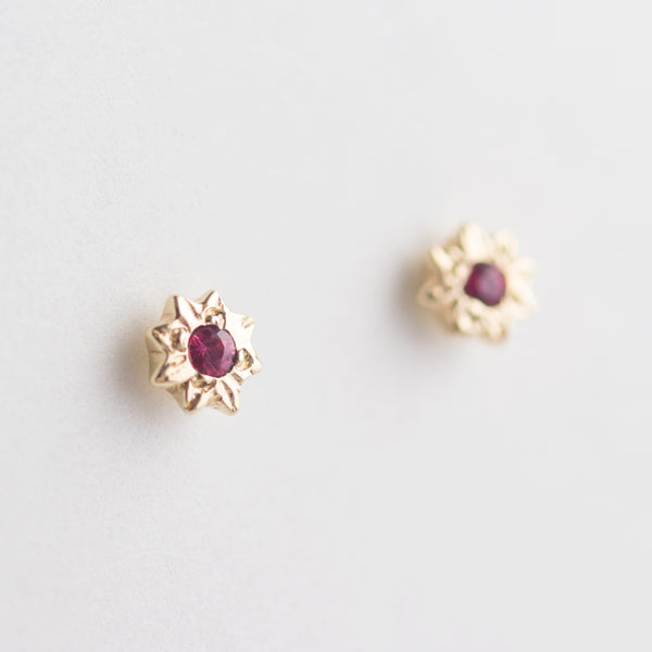 Mini Starry Ruby Earrings