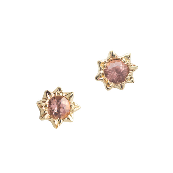 Starry Peach Topaz Earrings