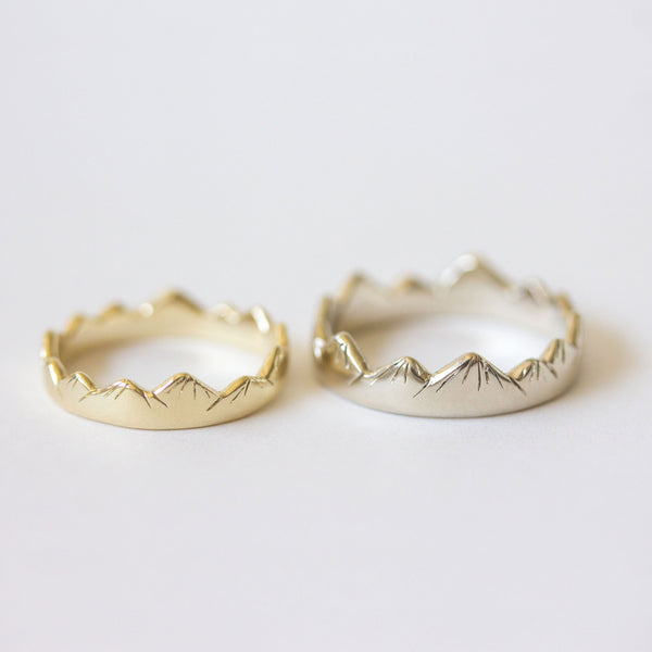 Mountain Wedding Rings in Yellow and White Gold