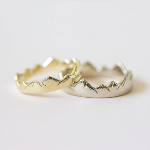 Mountain Wedding Rings in Yellow + White Gold