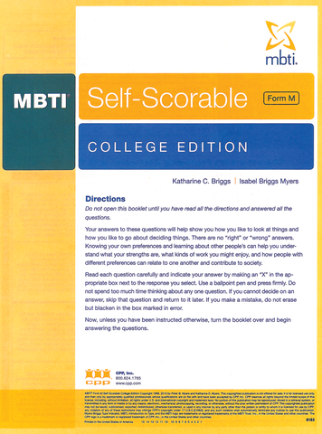 MBTI ® Form M Self-Scorable, College Edition