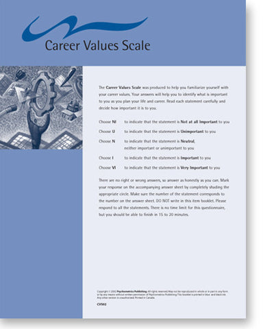 Career Values Scale Question Sheet
