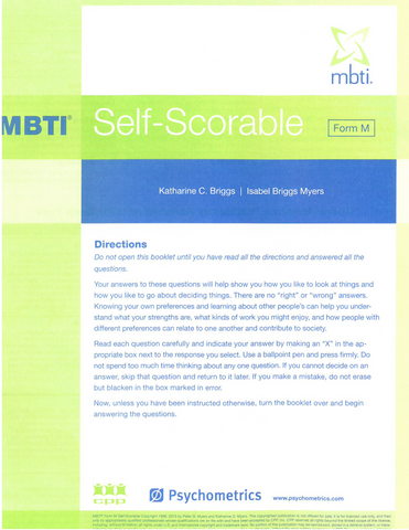 MBTI ® Form M Self-Scorable