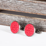 Knitted clay cufflinks - Red
