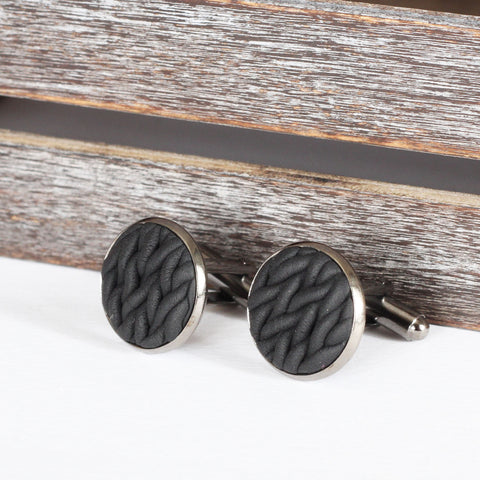 Knitted clay cufflinks - Black