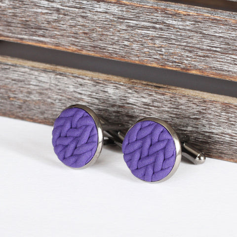 Knitted clay cufflinks - Purple