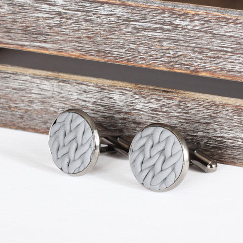 Knitted clay cufflinks - Grey