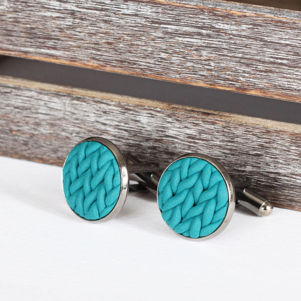 Knitted clay cufflinks - Teal