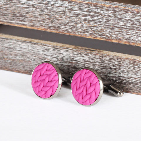 Knitted clay cufflinks - Pink