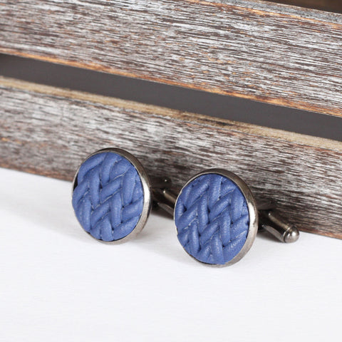 Knitted clay cufflinks - Navy