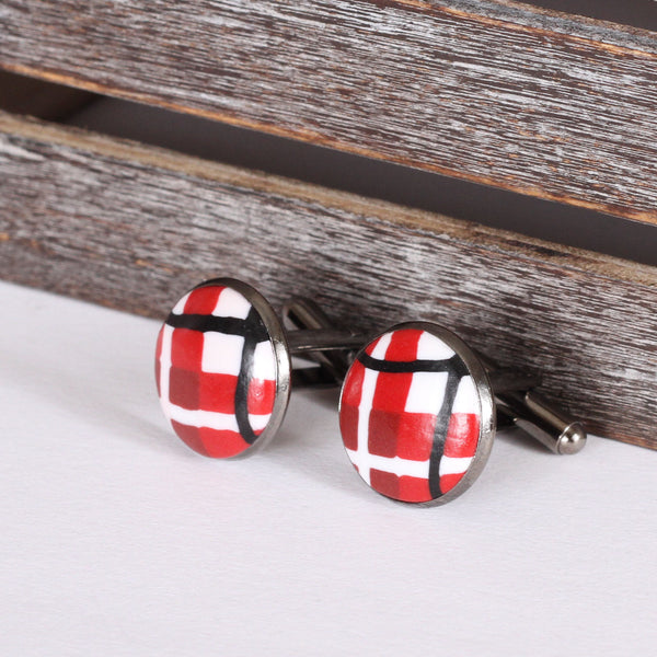 Tartan clay cufflinks - Red