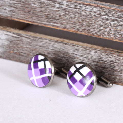 Tartan clay cufflinks - Purple