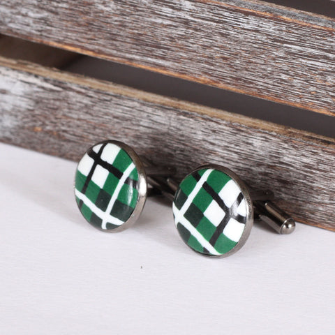 Tartan clay cufflinks - Green