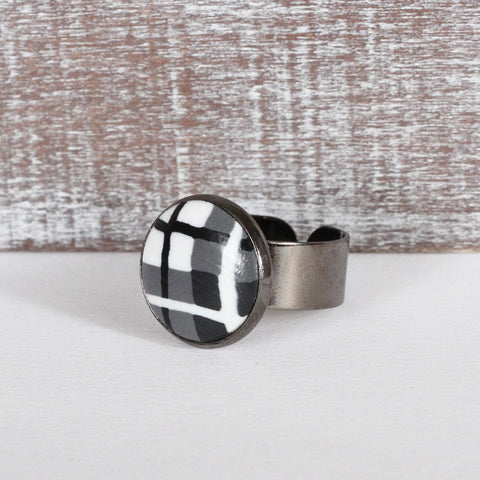 Black Tartan Clay Ring