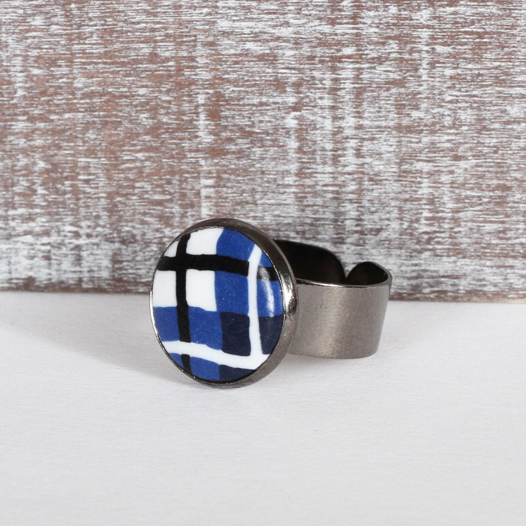 Blue Tartan Clay Ring