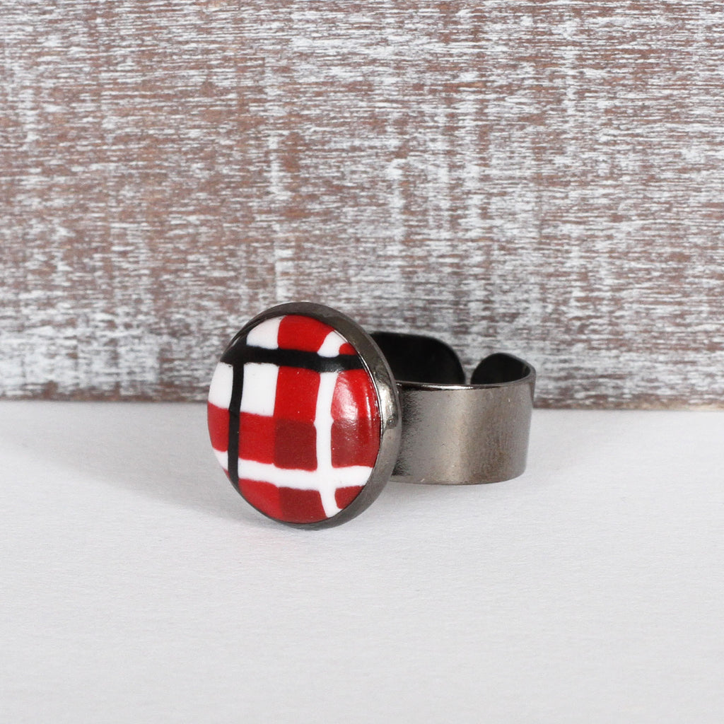 Red Tartan Clay Ring