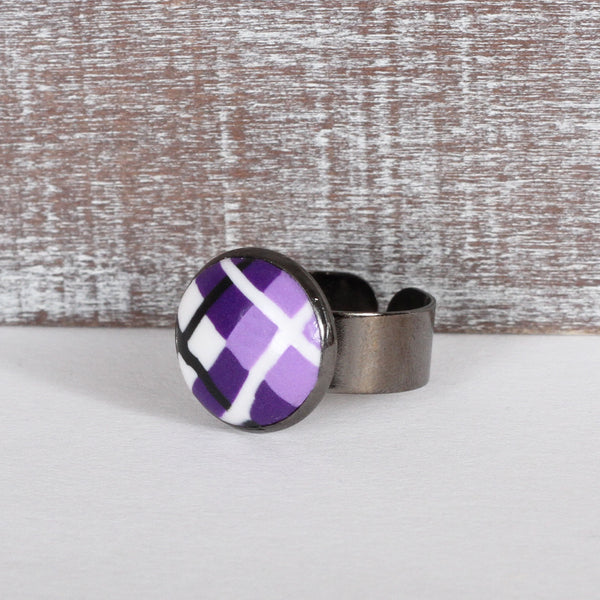 Purple Tartan Clay Ring