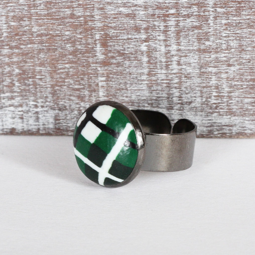 Green Tartan Clay Ring
