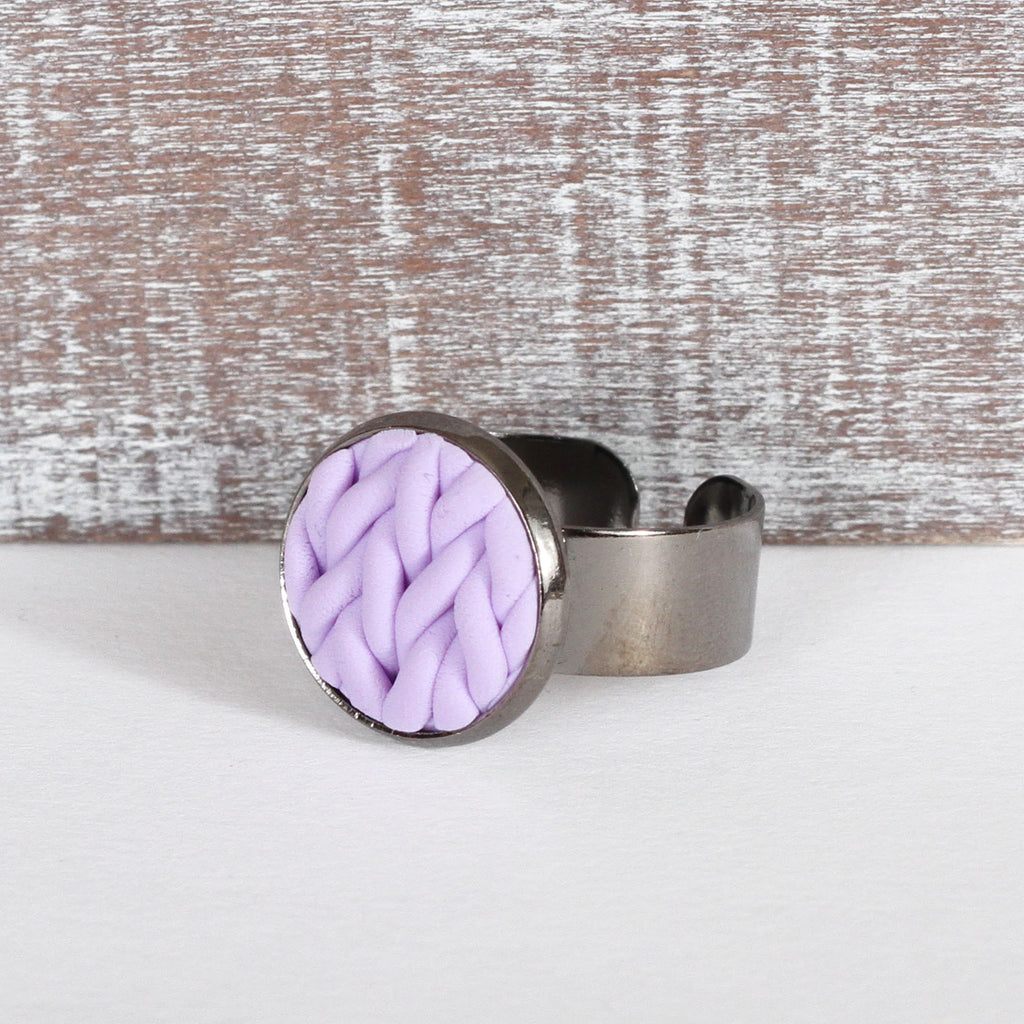 Pastel Lilac knitted clay ring