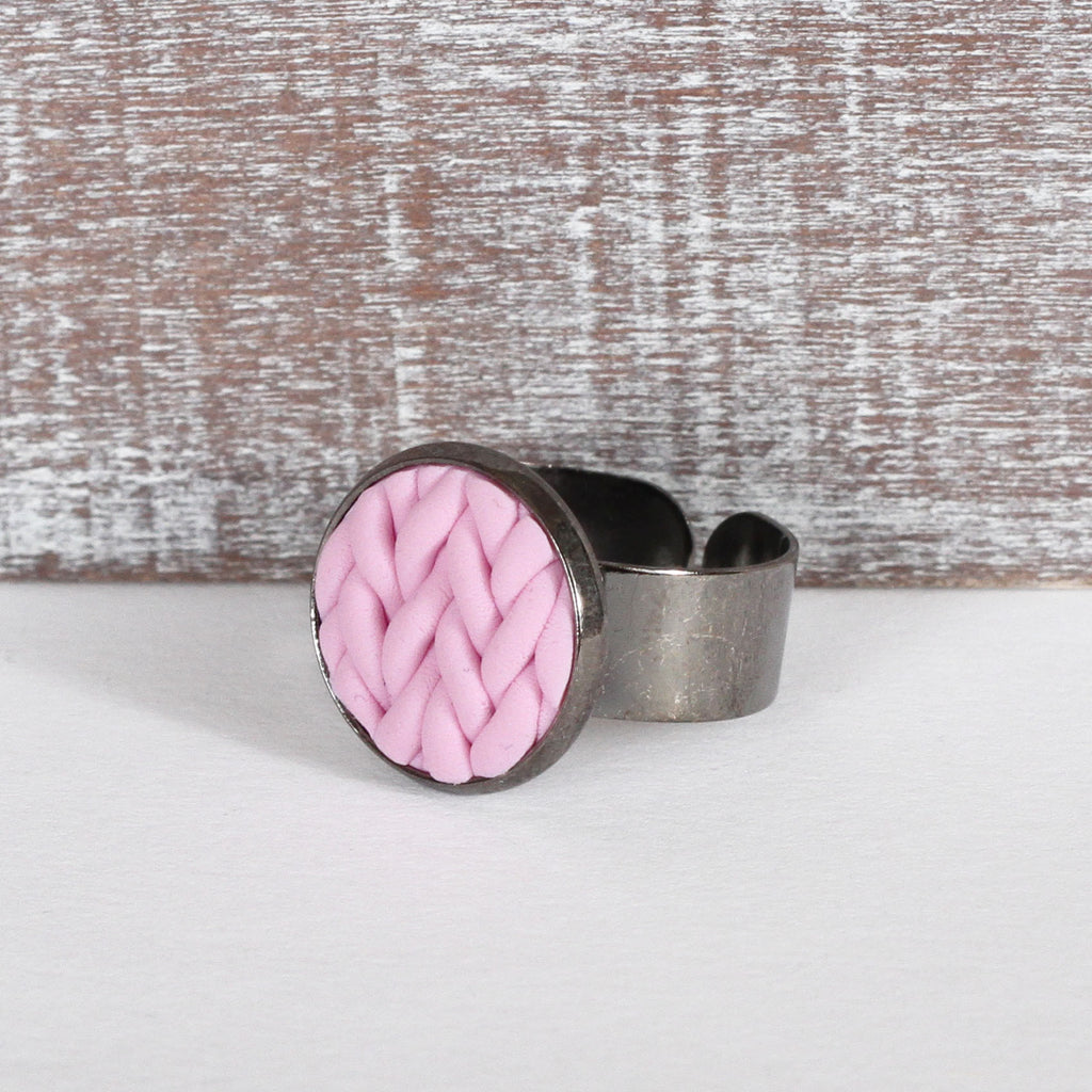 Pastel Pink knitted clay ring