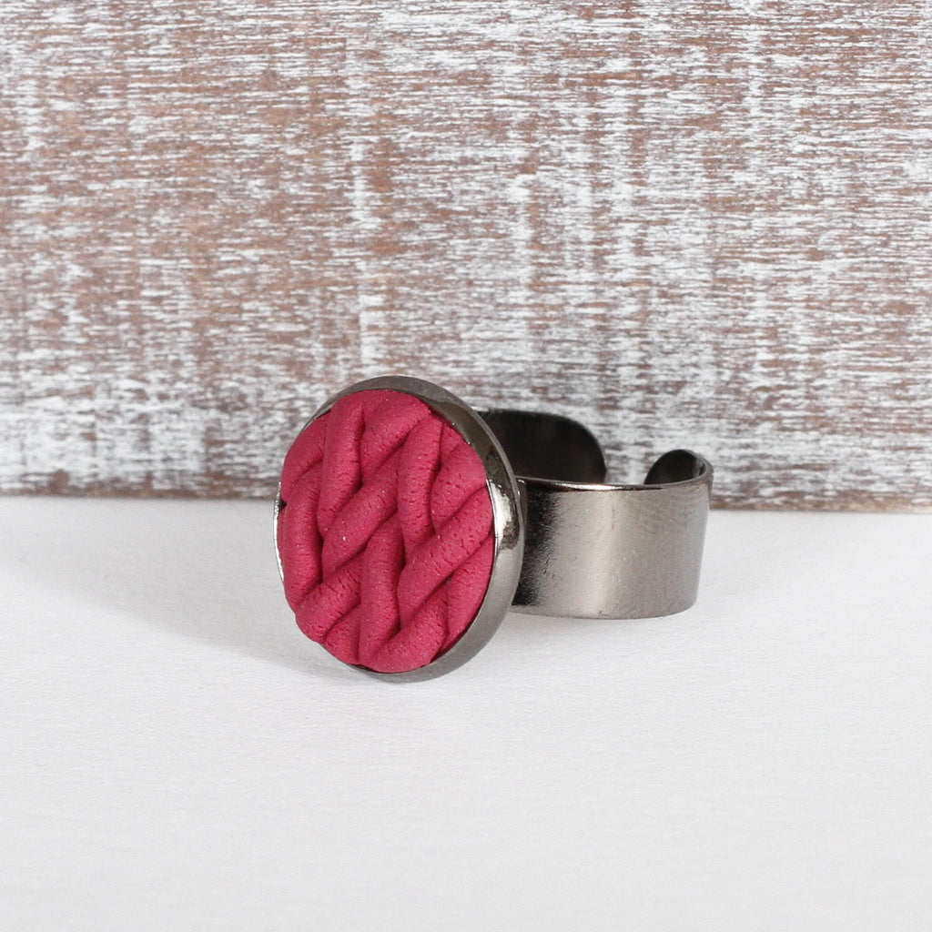 Burgundy knitted clay ring