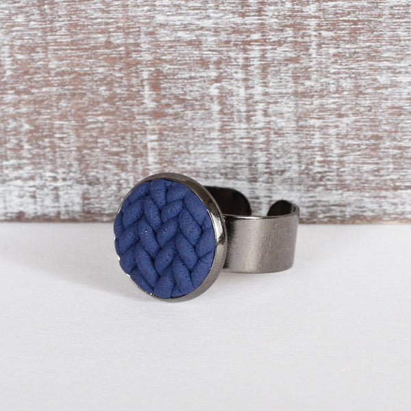 Navy knitted clay ring