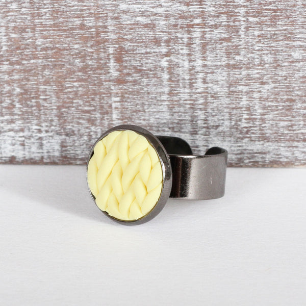 Pastel Yellow knitted clay ring