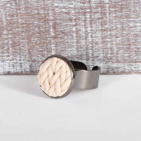 Cream knitted clay ring